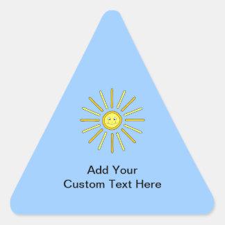 Verano feliz Sun. Amarillo y azul Pegatina Triangular