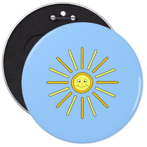 Verano feliz Sun. Amarillo y azul Pin