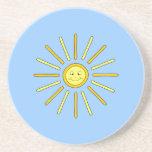 Verano feliz Sun. Amarillo y azul Posavasos Cerveza