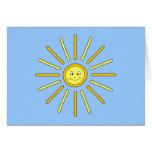 Verano feliz Sun. Amarillo y azul Tarjeton