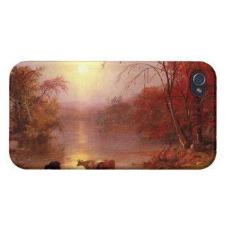 Verano indio el río Hudson por Bierstadt iPhone 4 Cobertura