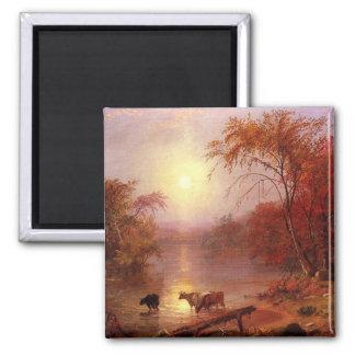 Verano indio el río Hudson por Bierstadt Imán De Frigorífico