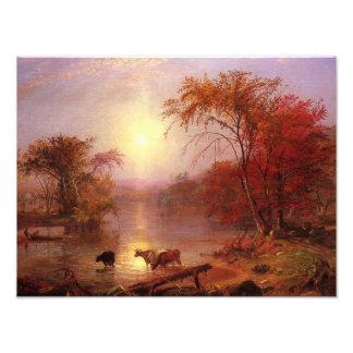 Verano indio el río Hudson por Bierstadt Impresión Fotográfica