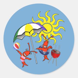 Verano lindo de la langosta de los cangrejos pegatina redonda