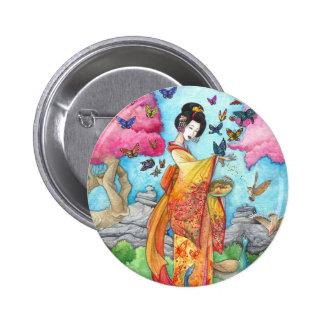 Verano Maiko 2 botón arte de Maiko del geisha Pin