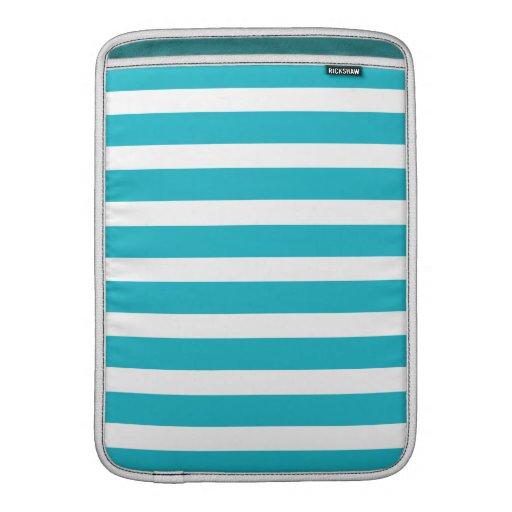 Verano náutico de la turquesa y de la raya blanca funda macbook air