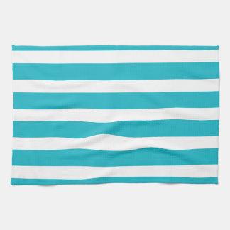 Verano náutico de la turquesa y de la raya blanca toallas de mano