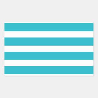 Verano náutico de la turquesa y de la raya blanca pegatina rectangular