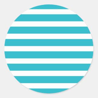 Verano náutico de la turquesa y de la raya blanca pegatina redonda