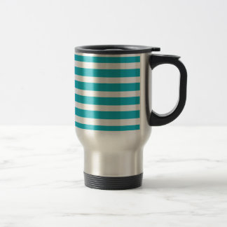 Verano náutico de la turquesa y de la raya blanca taza de café