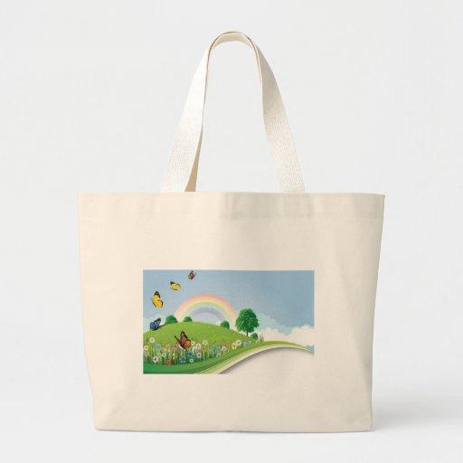 verano-paisaje-vector bolsa tela grande