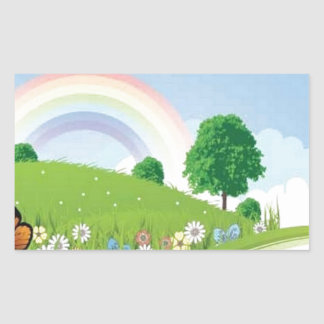 verano-paisaje-vector pegatina rectangular