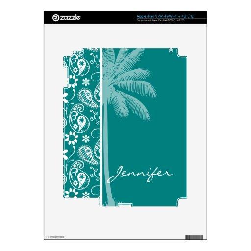 Verano Paisley ciánica oscura; Floral iPad 3 Skin
