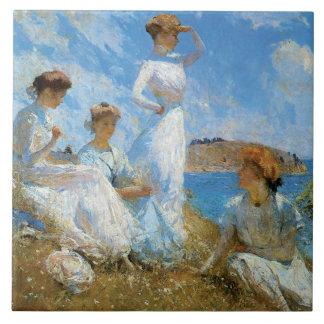 Verano, por Frank W. Benson Azulejo Cuadrado Grande