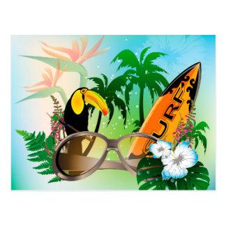 Verano, practicando surf tarjeta postal