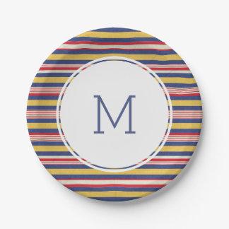 Verano raya modelo monograma colorido del 4 de plato de papel de 7 pulgadas