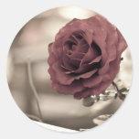 verano rojo de la flor de la rosaleda pegatina redonda