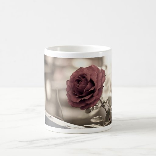 verano rojo de la flor de la rosaleda tazas de café