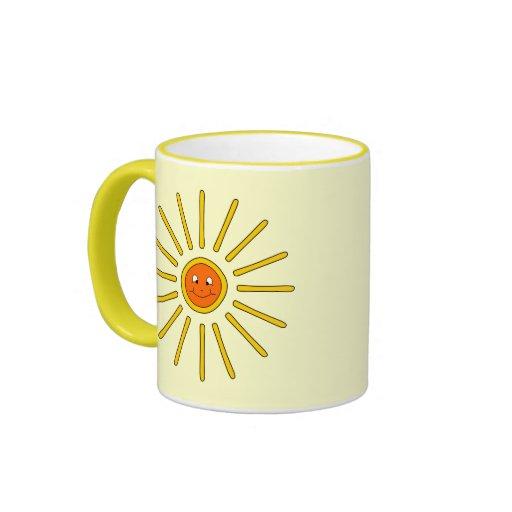 Verano soleado Sun. Amarillo en la crema Tazas De Café