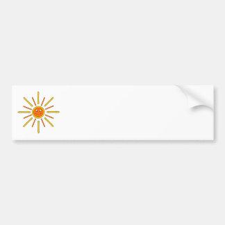 Verano sonriente Sun. Amarillo y naranja Pegatina De Parachoque