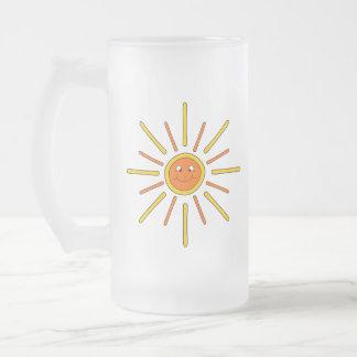 Verano sonriente Sun. Amarillo y naranja Tazas De Café