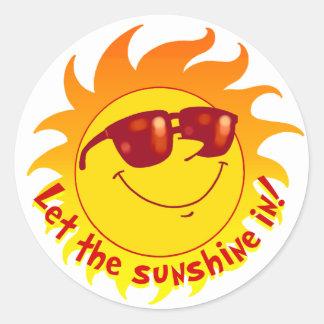 Verano sonriente Sun Pegatina Redonda