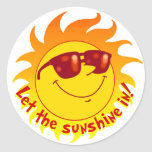 Verano sonriente Sun Pegatinas Redondas