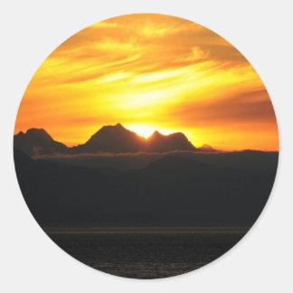 Verano Sun en el Glacier Bay Pegatina Redonda