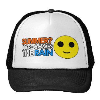 Verano y mensaje sarcástico divertido de la lluvia gorro