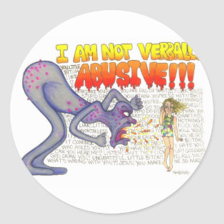 verbally abusive classic round sticker