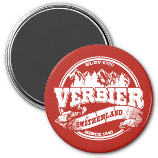 Verbier Old Circle Red 3 Inch Round Magnet