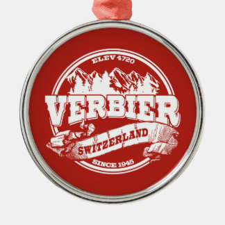 Verbier Old Circle Red Round Metal Christmas Ornament