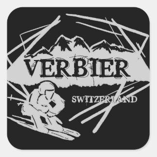 Verbier Switzerland black ski logo stickers