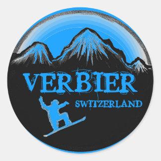 Verbier Switzerland blue snowboard stickers