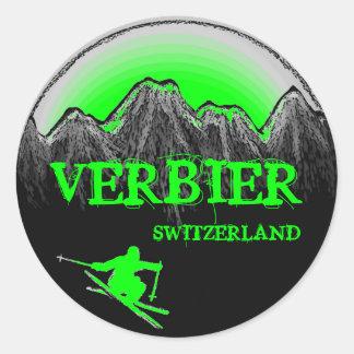 Verbier Switzerland green skier mountain stickers
