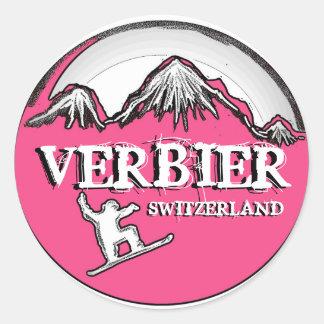 Verbier Switzerland pink snowboarder stickers