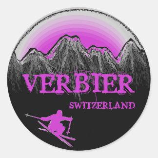 Verbier Switzerland purple skier mountain stickers