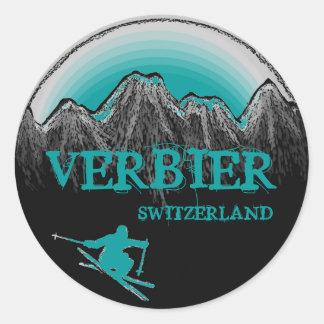 Verbier Switzerland teal skier stickers