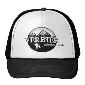 Verbier Switzerland white black snowboard hat