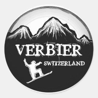 Verbier Switzerland white black snowboard stickers