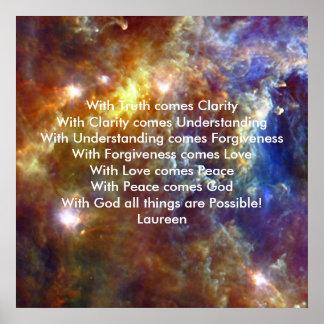 Verdad amor de comprensión y dios impresiones