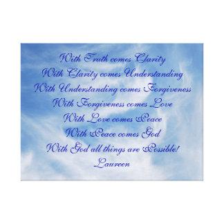 Verdad amor de comprensión y dios impresión en lona estirada