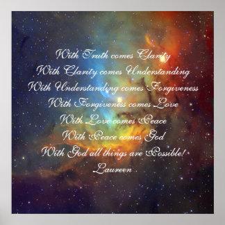 Verdad, amor de comprensión y dios póster