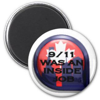 Verdad de Canadá 911 dentro del trabajo Imán Redondo 5 Cm