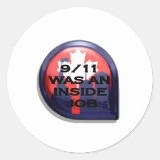 Verdad de Canadá 911 dentro del trabajo Pegatina Redonda