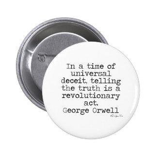 Verdad de Orwell Pin Redondo De 2 Pulgadas