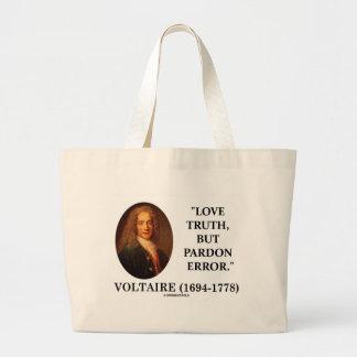 Verdad del amor de Voltaire pero cita del error Bolsa Tela Grande