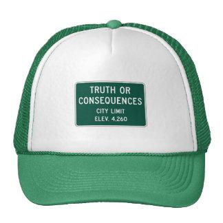Verdad o consecuencias, marcador del camino, New Gorras
