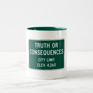 Verdad o consecuencias, marcador del camino, New Taza De Café De Dos Colores