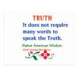 VERDAD:  Palabras indias americanas de la sabidurí Tarjeta Postal